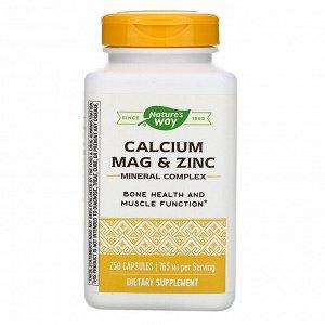Nature&#x27 - s Way, Calcium, Mag & Zinc, Mineral Complex, 765 mg, 250 Capsules