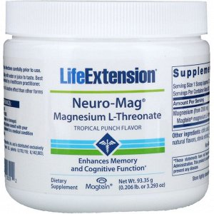 Life Extension, Neuro-Mag, L-треонат магния, со вкусом тропического пунша, 93,35 г (3,293 унции)