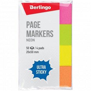 "Флажки-закладки Berlingo ""Ultra Sticky"", 20*50мм, 50л*4 неоновых цвета"