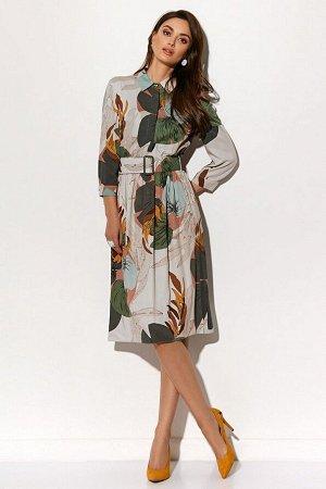 Платье Состав 100% вискоза Платье (длина по спинке - 107 см, цвет: мультиколор) - отрезное по линии талии, талия на резинке; - горловина круглая, воротник отложной на стойке; - рукав втачной 3/4, окан