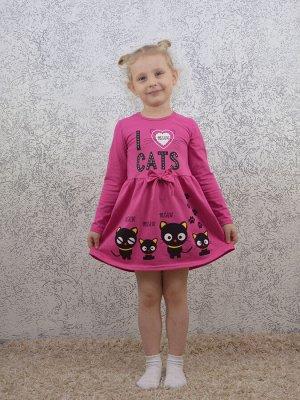 Платье фуксия Черные котята.Длинный рукав.