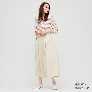 Длинная юбка с поясом из льна (длина 84.5~88.5cm), белый