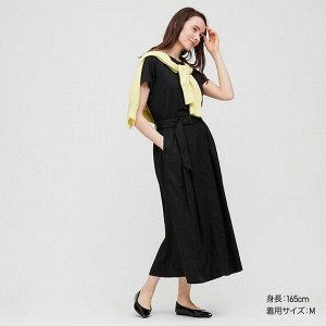 Длинная юбка с поясом из льна (длина 84.5~88.5cm), черный