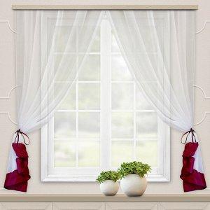 Комплект штор для кухни София 270*160 бордо