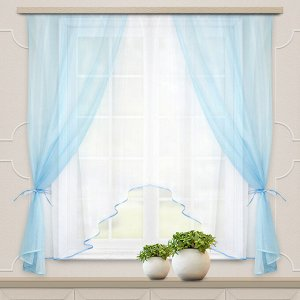 Комплект штор для кухни Шарм 285*160 голубой-белый