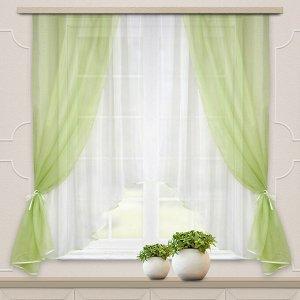 Комплект штор для кухни Шарм 285*160 св.зеленый-молочный