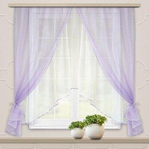 Комплект штор для кухни Шарм 285*160 сирень-белый