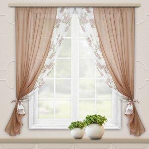 Комплект штор для кухни Арина какао
