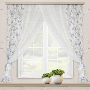 Комплект штор для кухни Акварель 280*160 голубой