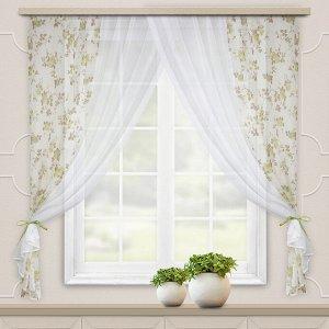 Комплект штор для кухни Акварель 280*160 зеленый