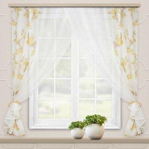 Комплект штор для кухни Акварель 280*160 золото