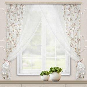 Комплект штор для кухни Акварель 280*160 коричневый