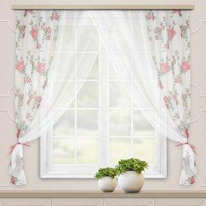 Комплект штор для кухни Акварель 280*160 красный