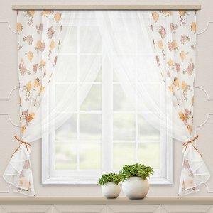 Комплект штор для кухни Акварель 280*160 персик