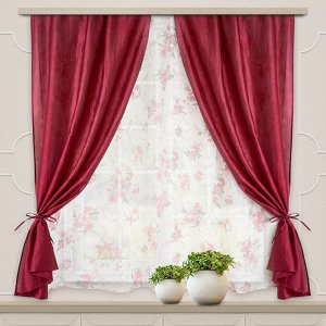Комплект штор для кухни Романтика 285*160 бордо