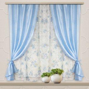 Комплект штор для кухни Романтика 285*160 голубой