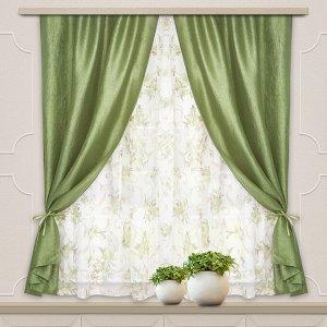 Комплект штор для кухни Романтика 285*160 зеленый
