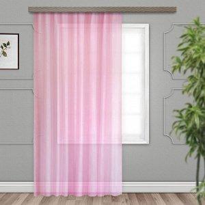 Готовые шторы Тюль с тиснением роза светло-розовый 300*260 ЛЕНТ