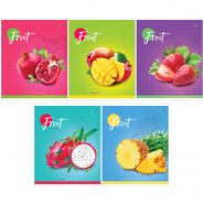 """Тетрадь 60л., А5, клетка ArtSpace """"Фрукты. Colorful fruits"""", ВД-лак"""