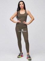 Женский спортивный костюм для фитнеса цвета хаки
