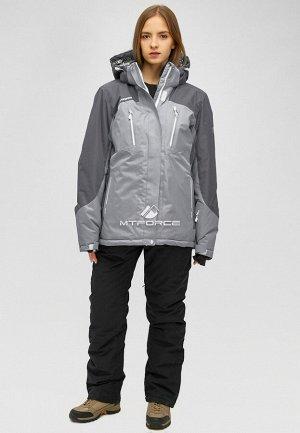 Женский зимний костюм горнолыжный большого размера серого цвета 01850Sr