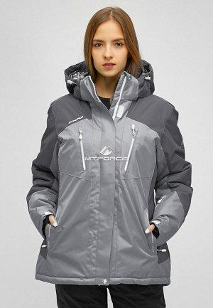 Женская зимняя горнолыжная куртка большого размера серого цвета 1850Sr