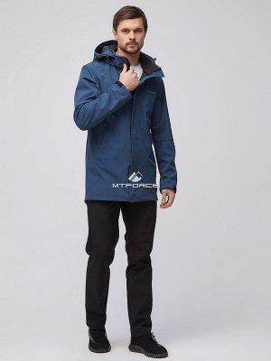 Мужской осенний весенний костюм спортивный softshell синего цвета 02010S