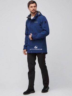 Мужской осенний весенний костюм спортивный softshell темно-синего цвета 02010TS