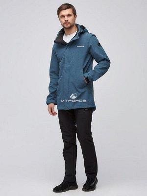 Мужской осенний весенний костюм спортивный softshell голубого цвета 02010Gl