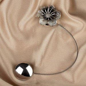 Подхват для штор «Лютик». d = 5.5 см. цвет серебряный