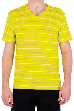 Футболка Модель V-образный вырез. Цвет жёлтый. Комплектация футболка. Состав хлопок-90%, полиэстер-10%. Бренд SAMO. Фактура полоса