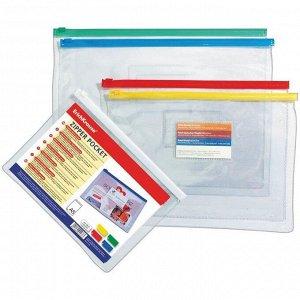 """Папка-конверт на молнии B6 Erich Krause """"PVC Zip Pocket"""", 180мкм, прозрачная, ассорти"""