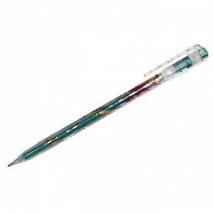"""Ручка гелевая Crown """"Glitter Metal Jell"""" зеленая с блестками, 1,0мм"""
