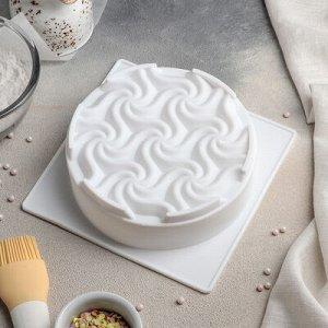 """Форма для выпечки и муссовых десертов 17,5х17,5x5,5 см """"Вихрь"""", белая, есть 2 штуки"""