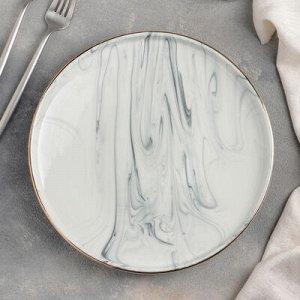 """Тарелка обеденная """"Мрамор"""" 25х3 см, цвет серый"""