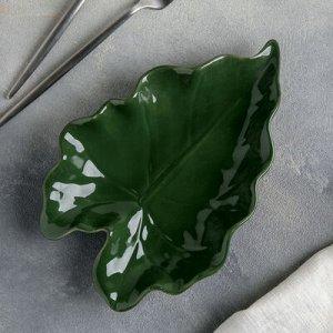 "Блюдо ""Лист"" 25х16,5х4 см, цвет зеленый"