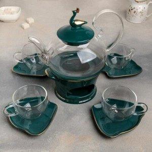 """Набор чайный 10 пред """"Изумруд"""" чайник 600 мл, подставка, 4 чашки 120 мл, 4 блюдца 11х10 см"""