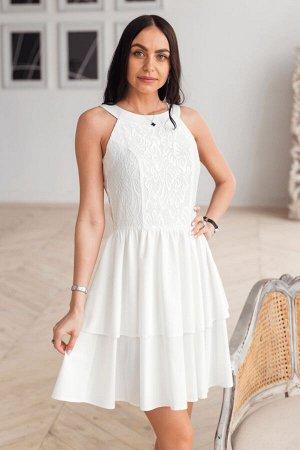 Молочное платье американка с гипюром