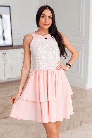 Пудровое платье американка с гипюром