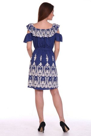 Платье Ришелье синее