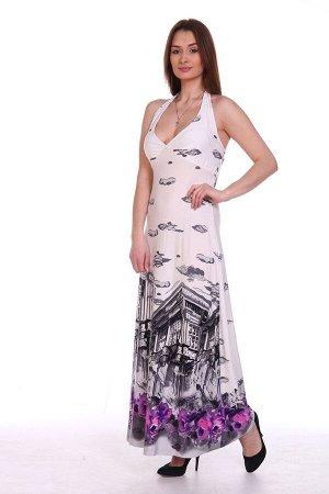 """Сарафан Длинный сарафан модного облегающего силуэта с открытой спиной. Лиф выполнен с подрезом """"чашка"""" и с лентами для завязывания на шее. Изделие отличается богатой расцветкой - красивые абстрактные"""