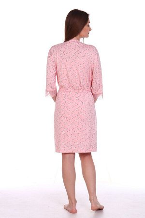Комплект сорочка+халат розовый