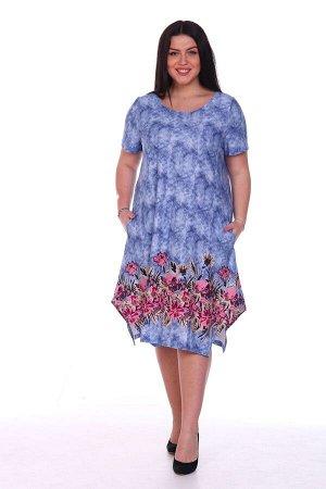 Платье Цветы на джинсе (М-562)