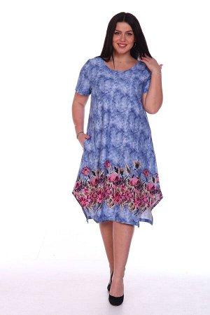 Платье Цветы на джинсе