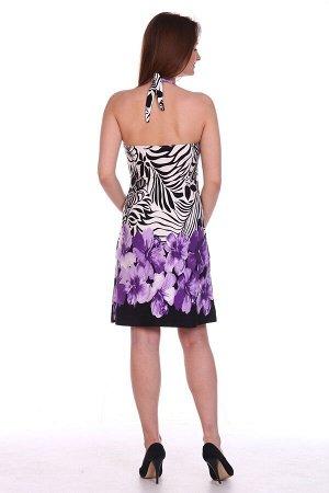 """Сарафан Короткий пляжный сарафан модного облегающего силуэта с открытой спиной. Лиф выполнен с подрезом """"чашка"""" с лентами для завязывания на шее.  Изделие сшито из мягкой и эластичной вискозы, что дел"""
