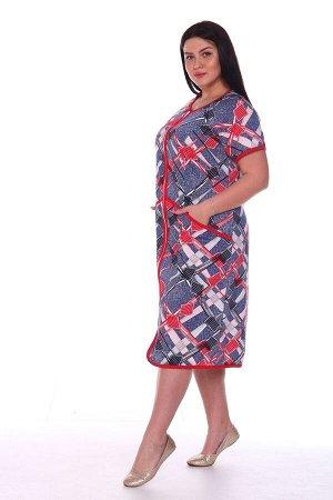 Халат Женский трикотажный халат с центральной бортовой застёжкой на молнию, прямого силуэта, с О-образным вырезом горловины. Рукава покроя «реглан». Полочка с наклонным декоративным подрезом ниже уров