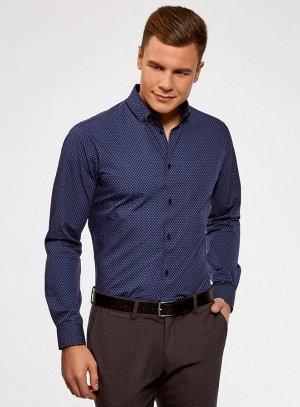 Рубашка хлопковая в мелкую графику                   Синий