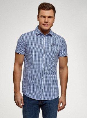 Стильная рубашка приталенного силуэта с короткими рукавами на 52-54