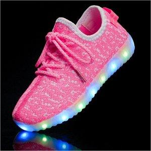 Светящиеся LED кроссовки для девочки 1620rose