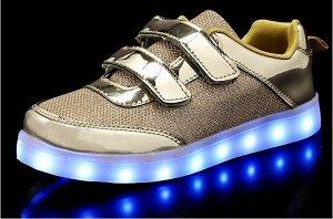 Светящиеся LED кроссовки для девочки A01gold